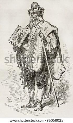 Santero old engraved portrait (Andalusian beggar). Created by Gustave Dore, published on Le Tour Du Monde, Ed. Hachette, Paris, 1867 - stock photo