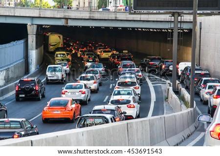 SANTIAGO, CHILE - NOVEMBER 12, 2015: Huge traffic jam in the city center. - stock photo