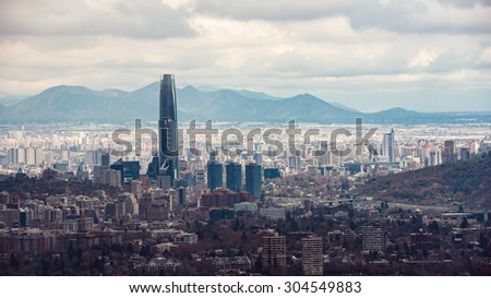 Santiago cityscape from Manquehue hill - stock photo