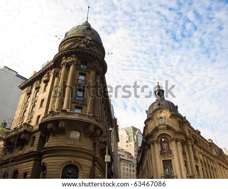 Santiago de Chile stock exchange building and financial district - stock photo