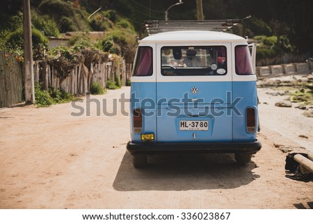 SANTIAGO, REGION METROPOLITANA / CHILE - NOVEMBER 05 2015 - Classic Volkswagen Kombi parked at the beach in Horcon, Chile - stock photo