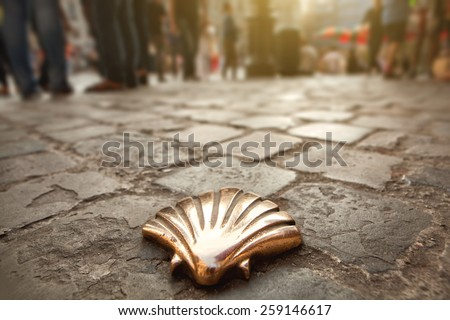 Santiago shell (Pilgrims shell), St James shell in Brussels, Belgium - stock photo