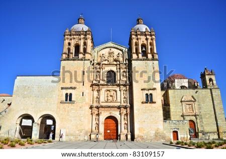 Santo Domingo Church in Oaxaca front view - stock photo