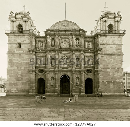 Santo Domingo Church in Oaxaca - Mexico (stylized retro) - stock photo