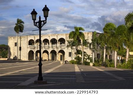SANTO DOMINGO/DOMINICAN REPUBLIC-NOVEMBER 4: Diego Columbus palace or Alcazar on november 4th 2014 in the caribbean capital of santo Domingo, Dominican Republic. Diego was the elder son of C. Columbus - stock photo