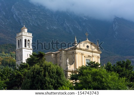 Santo Stefano church in Malcesine, Italy - stock photo