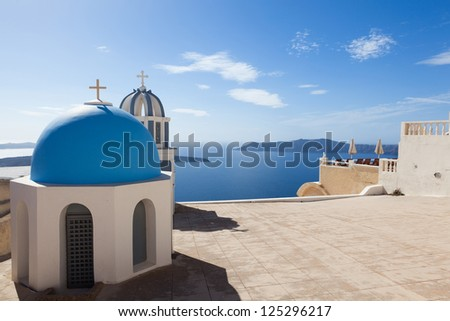 Santorini Church View - stock photo