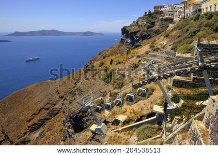 Santorini fira, cable car from the port - stock photo
