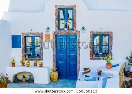 Santorini, Greece - Oia typical view  - stock photo