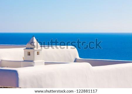 Santorini Greece, White chimney above sea at Santorini island in Greece - stock photo