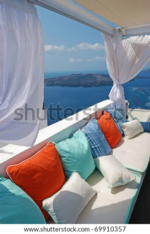 santorini island - stock photo