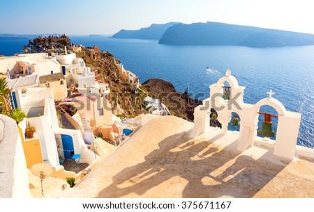 Santorini island, Greece, Cyclades - stock photo