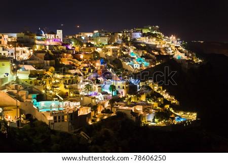 Santorini night (Firostefani) - Greece vacation background - stock photo