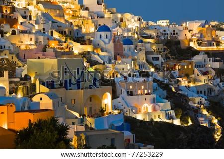 Santorini night (Oia) - Greece vacation background - stock photo