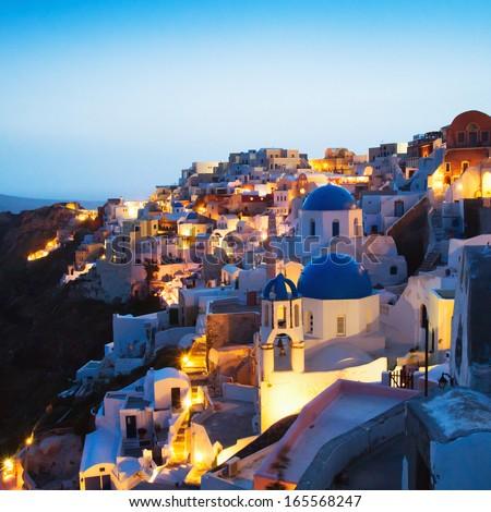 Santorini night view, Greece - stock photo
