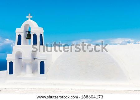 Santorini Oia, church bell tower - stock photo