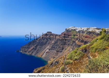 Santorini View (Firostefani) - vacation background - stock photo