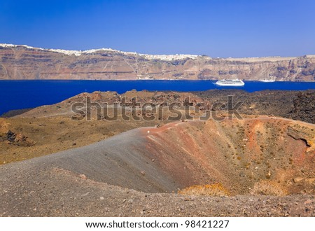 Santorini view from volcano - nature background - stock photo