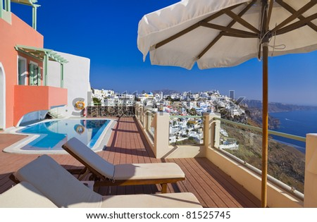 Santorini view - Greece (Firostefani) - vacation background - stock photo