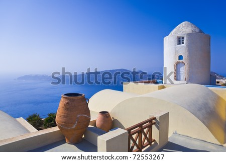 Santorini View (Imerovigli) - vacation background - stock photo