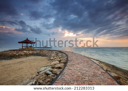 Sanur Beach is the famous tourism place for vacation and enjoy their holiday. - stock photo