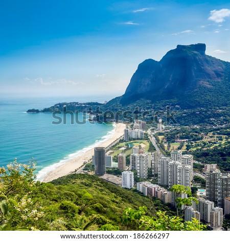 Sao Conrado with Pedra Da Gavea Hill, Rio de Janeiro  - stock photo