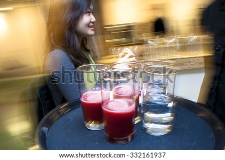 Sao Paulo, Brazil, August 13, 2009. Cocktail of fruits and water drink on cinema event in Sao Paulo - stock photo