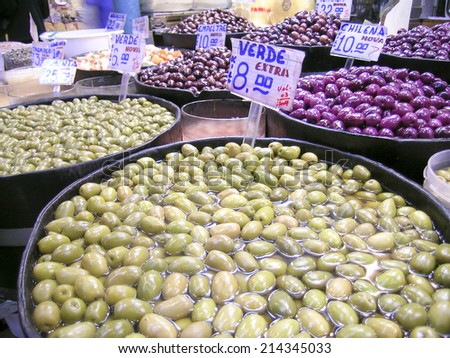 SAO PAULO, BRAZIL, AUGUST 30, 2003. mixed olives in market - stock photo