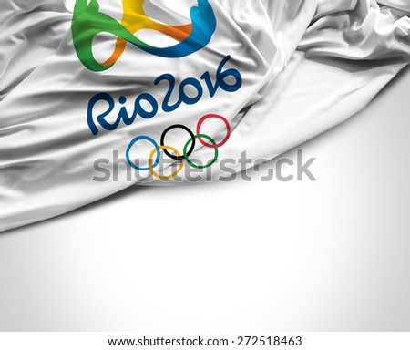 SAO PAULO, BRAZIL - CIRCA MARCH 2015: Flag with Rio 2016 Olympic Games - stock photo