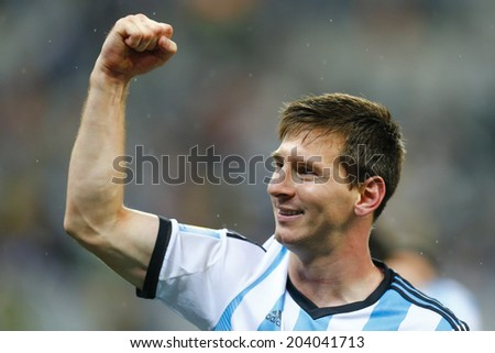 SAO PAULO, BRAZIL - July 9, 2014: Lionel Messi during the 2014 World Cup Semi-finals game between the Netherlands and Argentina at Arena Corinthians. NO USE IN BRAZIL. - stock photo