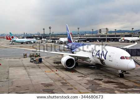 SAO PAULO, BRAZIL - NOVEMBER 25, 2015: LAN Airlines Boeing 787-8 Dreamliner at the Guarulhos International Airport. - stock photo