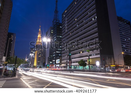 SAO PAULO, BRAZIL - SEPTEMBER 25, 2016: As one of the main business districts in Sao Paulo, Paulista Avenue also has the most expensive real estate in all of South America. - stock photo