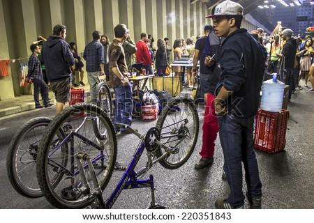 SAO PAULO, BRAZIL, SEPTEMBER 28, 2014. Street party Liberdade e Mais in downtown of Sao Paulo - stock photo