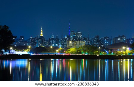 Sao Paulo City at night in Brazil - stock photo