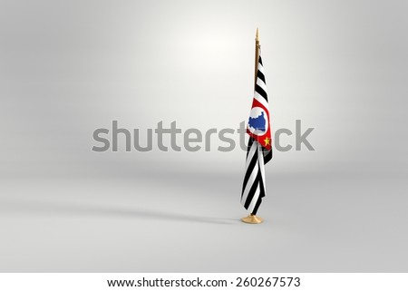 Sao Paulo state isolated flag on a brown and golden wooden mast 3d illustration - stock photo