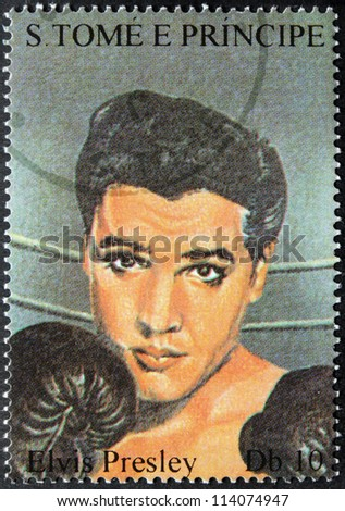 SAO TOME AND PRINCIPE - CIRCA 1995. A postage stamp printed by S.Tome and Principe shows image portrait of famous American singer Elvis Presley (1935-1977), circa 1995. - stock photo