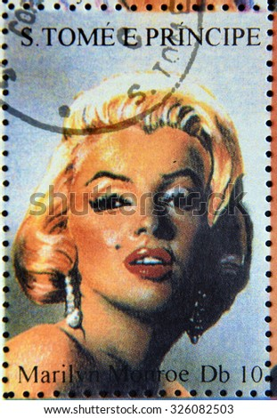 SAO TOME AND PRINCIPE - CIRCA 1995: A stamp printed in Sao Tome and Principe shows portrait of famous American actress, model and singer Marilyn Monroe, circa 1995  - stock photo