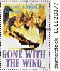 SAO TOME AND PRINCIPE - CIRCA 1995: A stamp printed in Sao Tome shows movie poster Gone with the wind, circa 1995 - stock photo