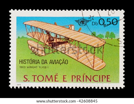 SAO TOME AND PRINCIPE: mail stamp celebrating the Wright brothers first powered flight, circa 1979 - stock photo