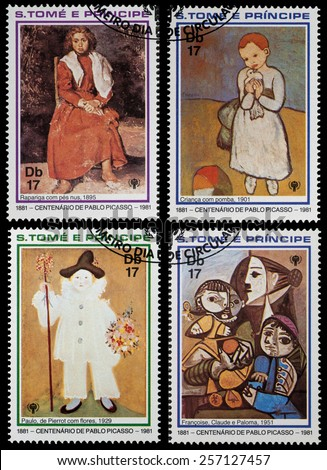 SAO TOME AND PRINIPE - CIRCA 1981: a stamp shows Painting by Pablo Picasso, circa 1981 - stock photo
