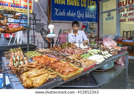 SAPA, VIETNAM, September 13, 2014 :Barbecue meat - The several animal meat  ingredient of famous Vietnamese food the barbecue resturant in Sapa district Vietnam - stock photo