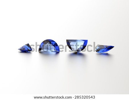 Sapphire. Different shape gemstone on  white. Jewelry background - stock photo