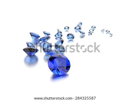 Sapphire gemstone on white. Jewelry background - stock photo