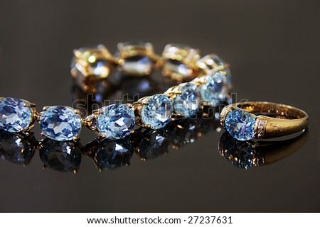 sapphire necklace and ring - stock photo