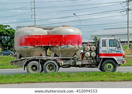 SARABURI-THAILAND-AUGUST 4 : The cement truck on the road, August 4, 2015 Saraburi Province, Thailand.advertise - stock photo