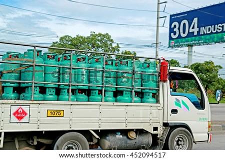 SARABURI-THAILAND-AUGUST 4 : The gas truck on the road, August 4, 2015 Saraburi Province, Thailand.advertise - stock photo