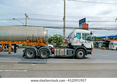 SARABURI-THAILAND-AUGUST 4 : The oil truck on the road, August 4, 2015 Saraburi Province, Thailand. - stock photo