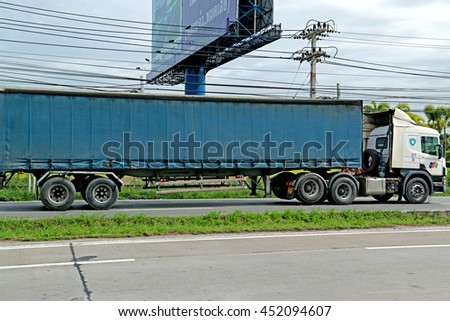 SARABURI-THAILAND-AUGUST 4 : The Truck on the road, August 4, 2015 Saraburi Province, Thailand.advertise - stock photo