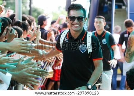 SARABURI THAILAND- JULY18:Prakit Deeprom of Buriram United in action during Thai Premier League between Saraburi Fc and Buriram United at Saraburi Stadium on July18,2015 in Saraburi Thailand - stock photo
