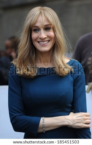 Sarah Jessica Parker on location for Sarah Jessica Parker On the Set of DID YOU HEAR ABOUT THE MORGANS?, Upper East Side of Manhattan, New York March 27, 2009 - stock photo